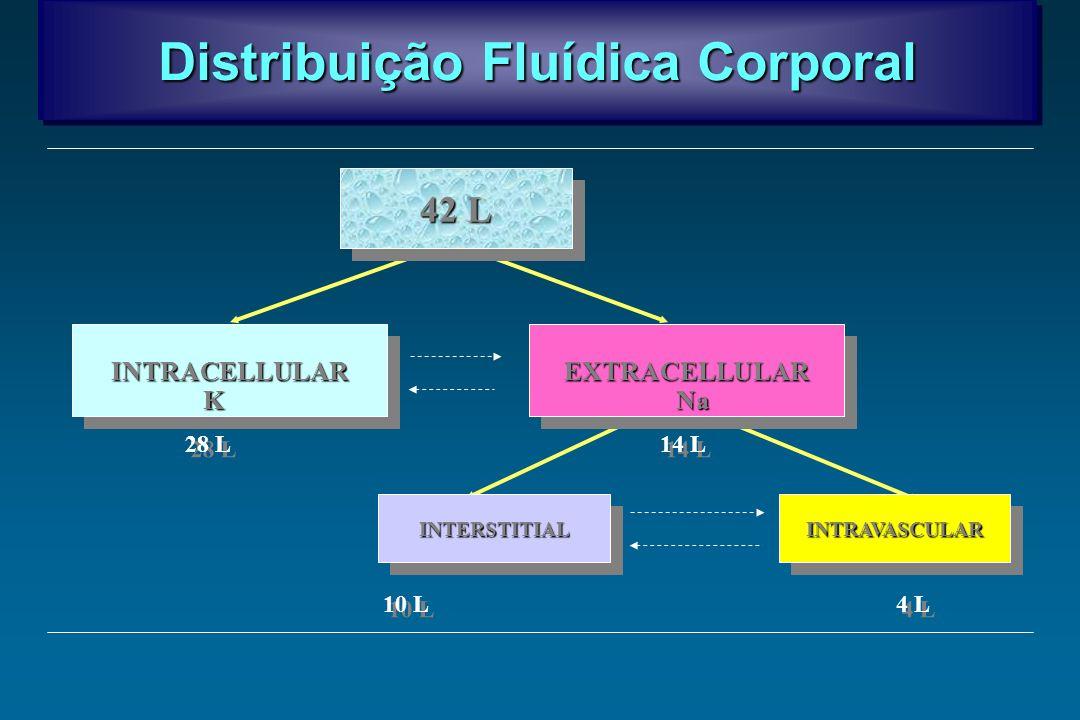 Distribuição Fluídica Corporal EXTRACELLULAREXTRACELLULARINTRACELLULARINTRACELLULAR INTERSTITIALINTERSTITIALINTRAVASCULARINTRAVASCULAR 42 L 28 L 14 L