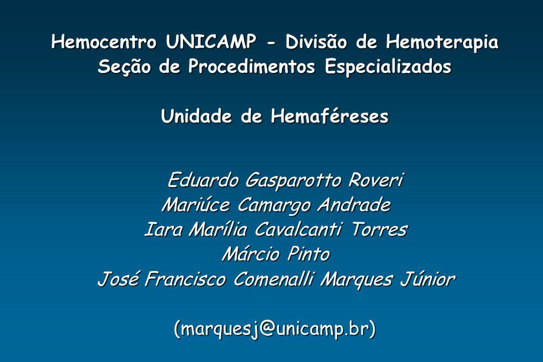 Hemocentro UNICAMP - Divisão de Hemoterapia Seção de Procedimentos Especializados Unidade de Hemaféreses Eduardo Gasparotto Roveri Mariúce Camargo And
