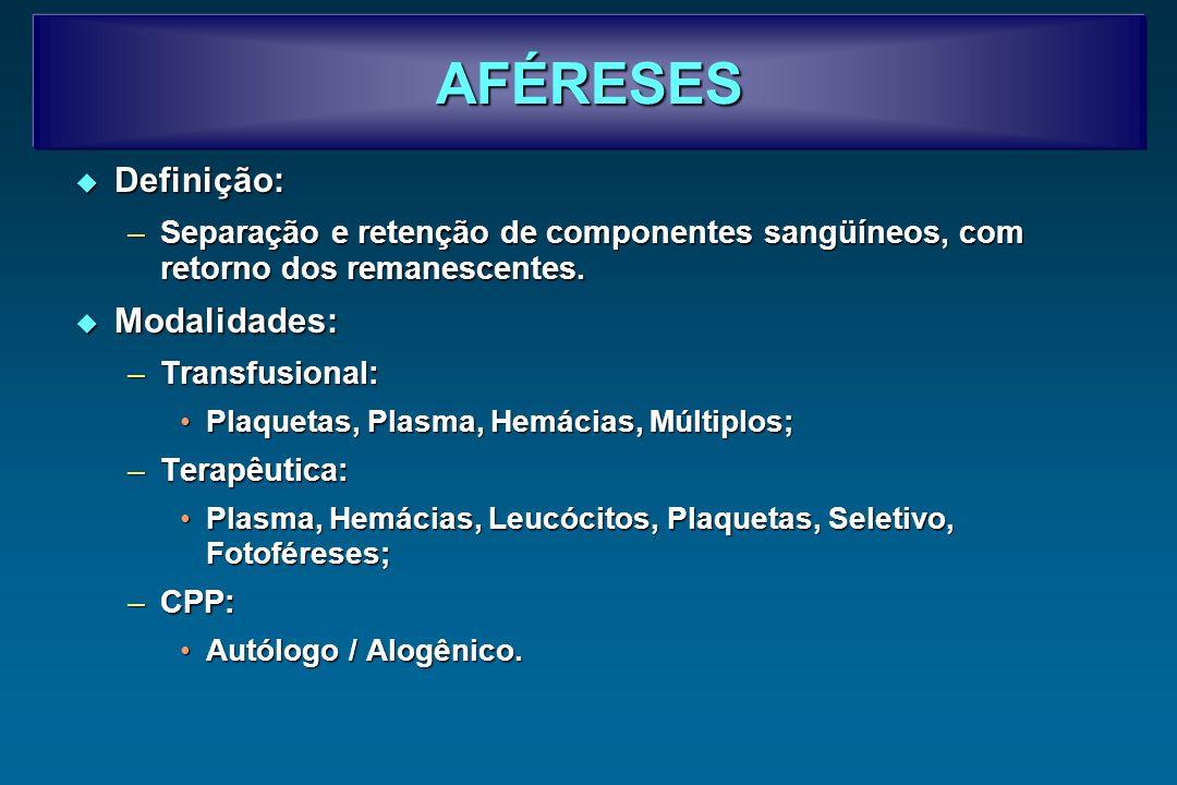 AFÉRESES TERAPÊUTICAS É a remoção e/ou a substituiçõa de componentes sangüíneos de um paciente com o propósito de retirar células defeituosas ou depletar um mediador de uma doença.