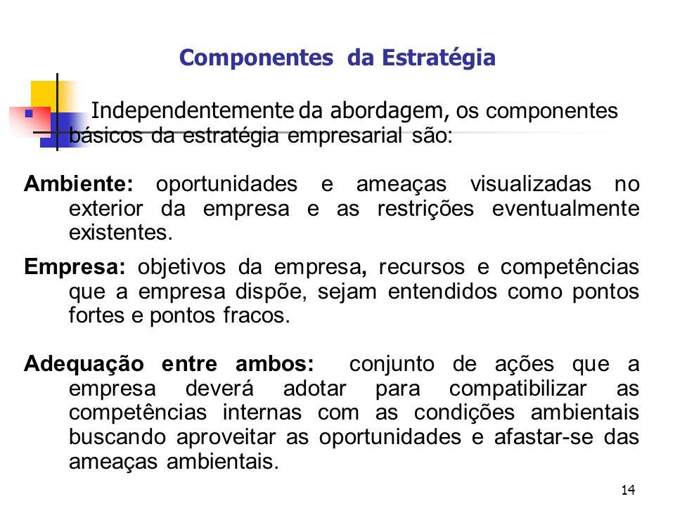 14 Componentes da Estratégia Independentemente da abordagem, o s componentes básicos da estratégia empresarial são: Ambiente: oportunidades e ameaças visualizadas no exterior da empresa e as restrições eventualmente existentes.