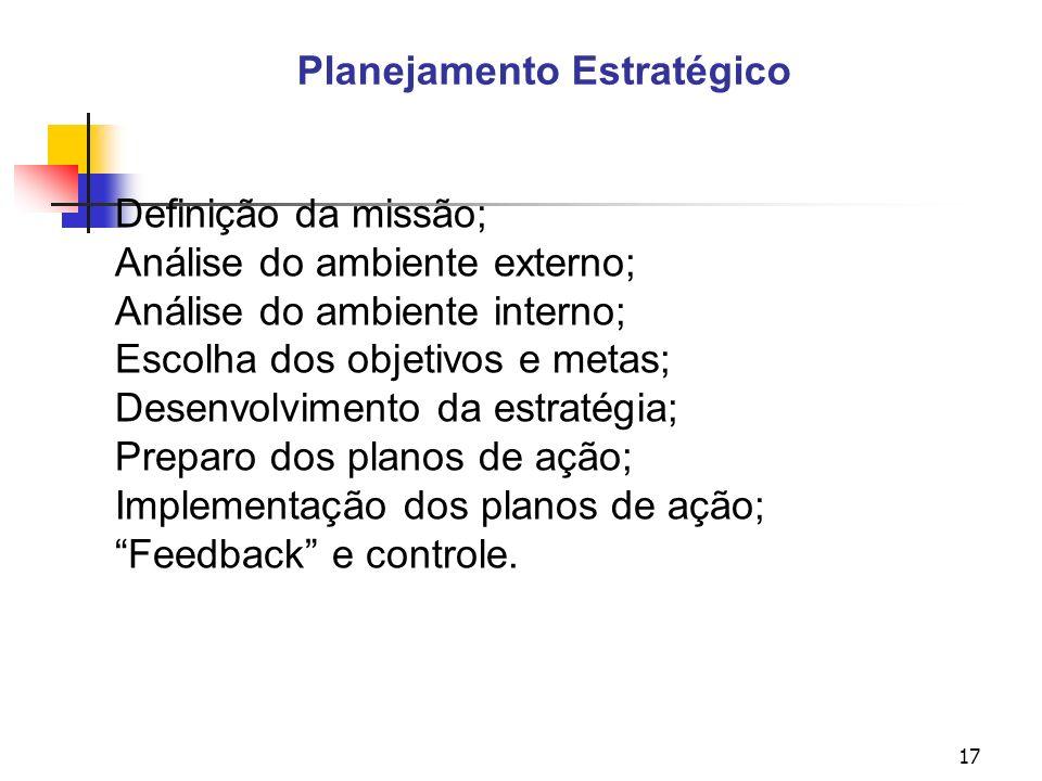 17 Planejamento Estratégico Definição da missão; Análise do ambiente externo; Análise do ambiente interno; Escolha dos objetivos e metas; Desenvolvimento da estratégia; Preparo dos planos de ação; Implementação dos planos de ação; Feedback e controle.