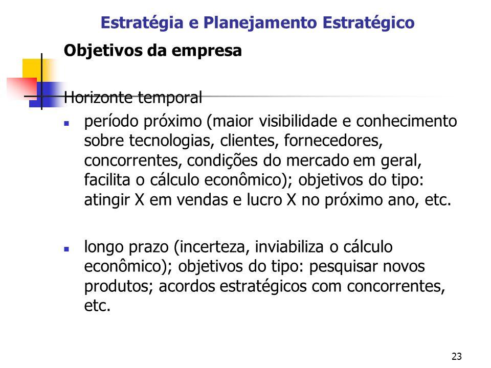 23 Estratégia e Planejamento Estratégico Objetivos da empresa Horizonte temporal período próximo (maior visibilidade e conhecimento sobre tecnologias,