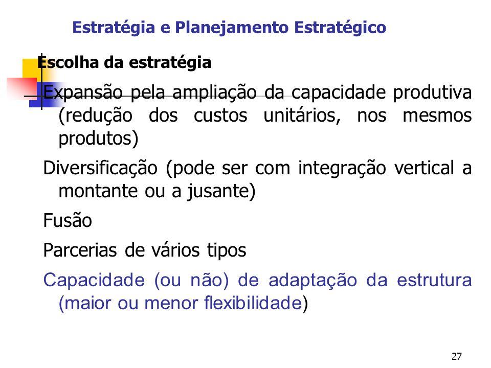 27 Estratégia e Planejamento Estratégico Escolha da estratégia Expansão pela ampliação da capacidade produtiva (redução dos custos unitários, nos mesm