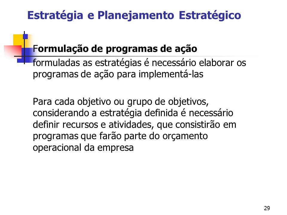 29 Estratégia e Planejamento Estratégico Formulação de programas de ação formuladas as estratégias é necessário elaborar os programas de ação para imp
