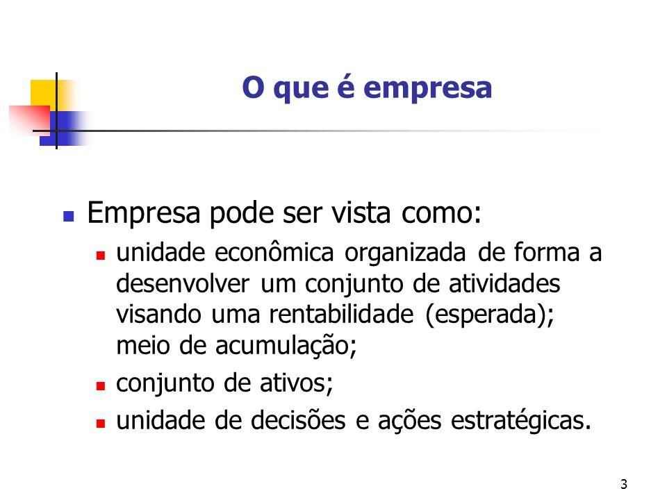 3 O que é empresa Empresa pode ser vista como: unidade econômica organizada de forma a desenvolver um conjunto de atividades visando uma rentabilidade (esperada); meio de acumulação; conjunto de ativos; unidade de decisões e ações estratégicas.