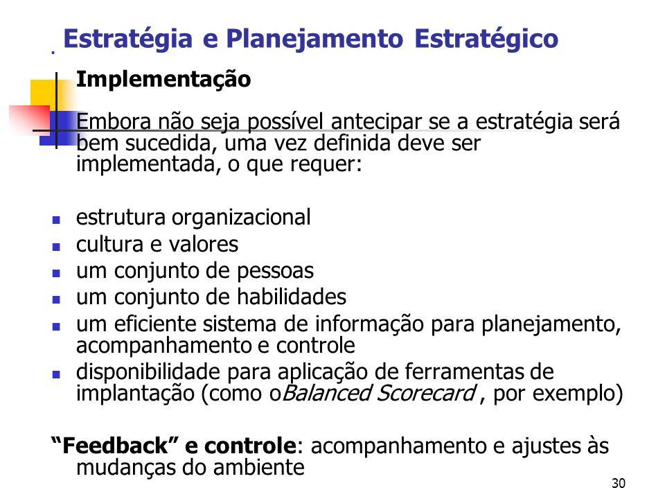 30 Estratégia e Planejamento Estratégico Implementação Embora não seja possível antecipar se a estratégia será bem sucedida, uma vez definida deve ser