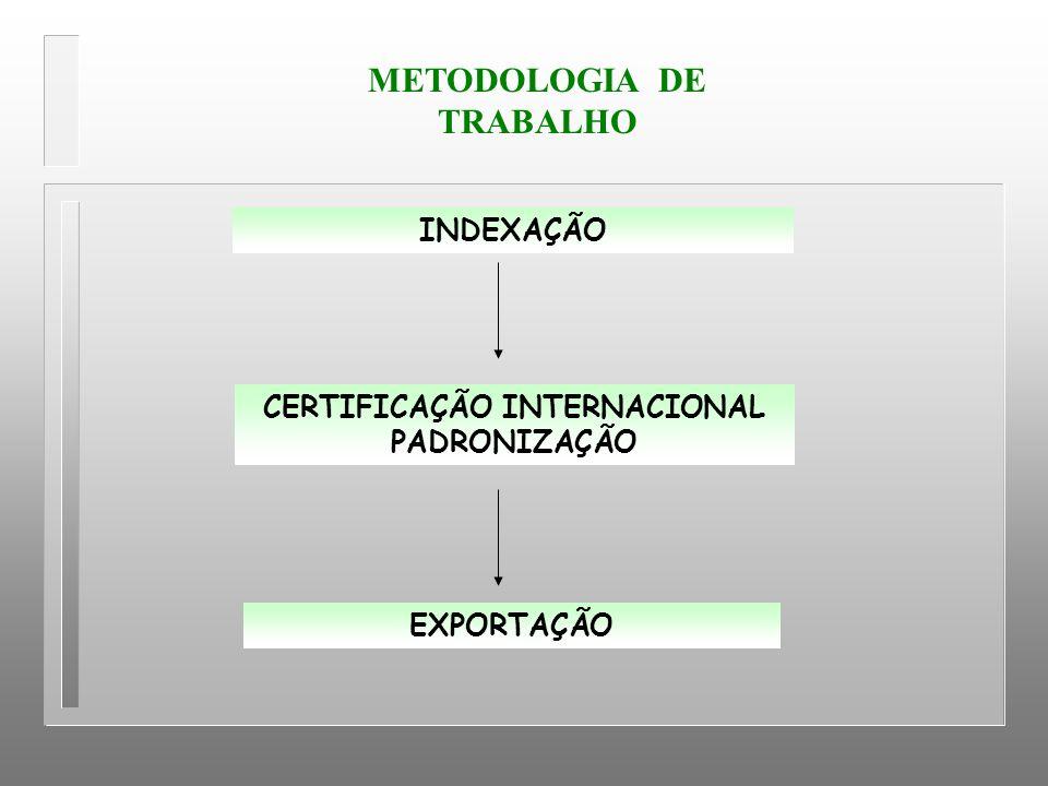 METODOLOGIA DE TRABALHO CERTIFICAÇÃO INTERNACIONAL PADRONIZAÇÃO INDEXAÇÃO EXPORTAÇÃO