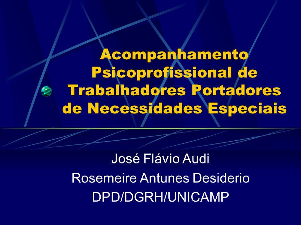 Acompanhamento Psicoprofissional de Trabalhadores Portadores de Necessidades Especiais José Flávio Audi Rosemeire Antunes Desiderio DPD/DGRH/UNICAMP