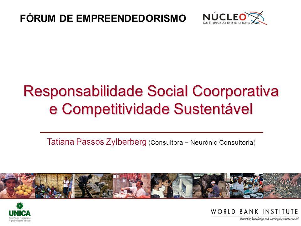 Responsabilidade Social Coorporativa e Competitividade Sustentável Tatiana Passos Zylberberg (Consultora – Neurônio Consultoria) FÓRUM DE EMPREENDEDORISMO