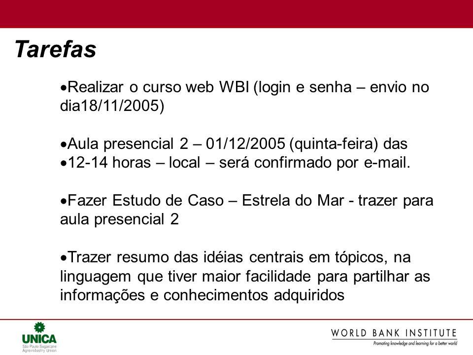 Tarefas Realizar o curso web WBI (login e senha – envio no dia18/11/2005) Aula presencial 2 – 01/12/2005 (quinta-feira) das 12-14 horas – local – será confirmado por e-mail.