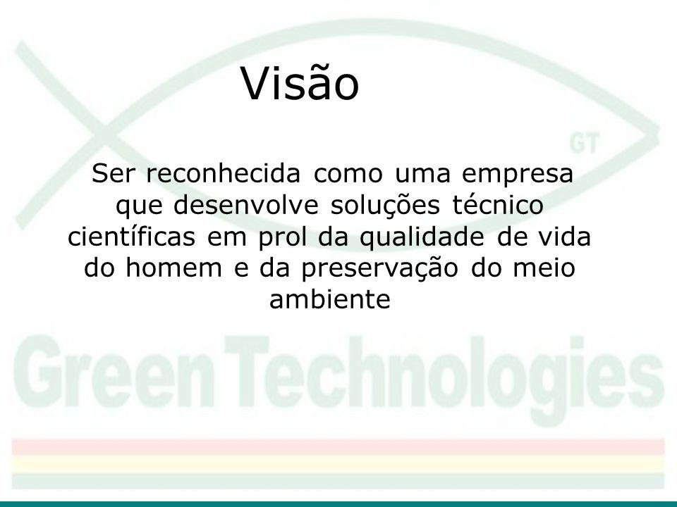 Visão Ser reconhecida como uma empresa que desenvolve soluções técnico científicas em prol da qualidade de vida do homem e da preservação do meio ambi