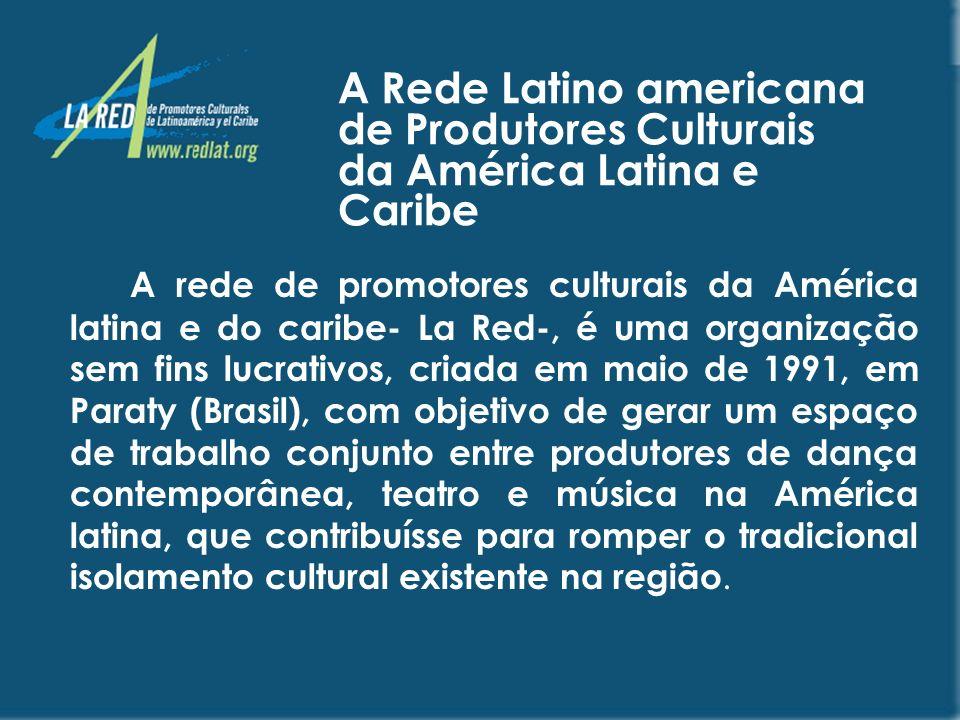 VISÃO A rede é uma organização líder nas Américas na geração e reconhecimento de espaços culturais para a integração e construção de uma comunidade cultural que seja protagonista de seu desenvolvimento social integral, e que propicie a circulação, distribuição e intercâmbio de informação, idéias, bens, espetáculos e serviços culturais.