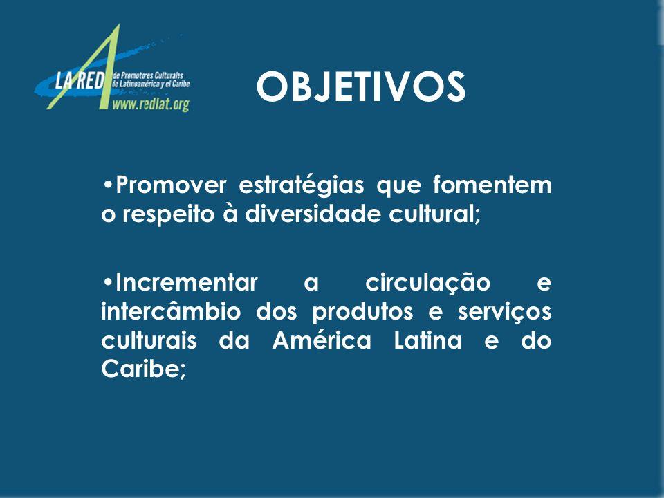 OBJETIVOS Consolidar um sistema de informação e comunicação acessível às comunidades culturais; Contribuir para a capacitação e profissionalização dos criadores e gestores envolvidos com o trabalho cultural;
