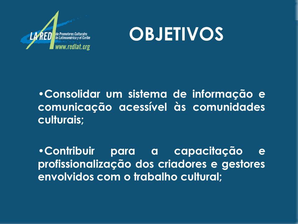 OBJETIVOS Promover a formação de novos públicos; Criar mecanismos de interlocução e interação, com organismos responsáveis pelo planejamento e execução de políticas culturais nacionais e internacionais.