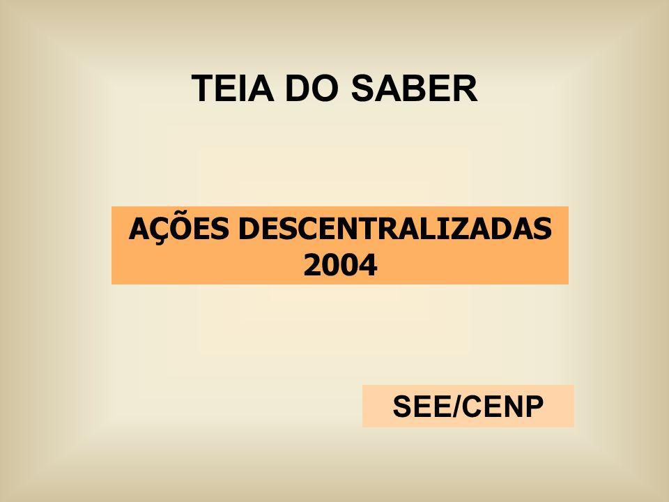 TEIA DO SABER SEE/CENP AÇÕES DESCENTRALIZADAS 2004