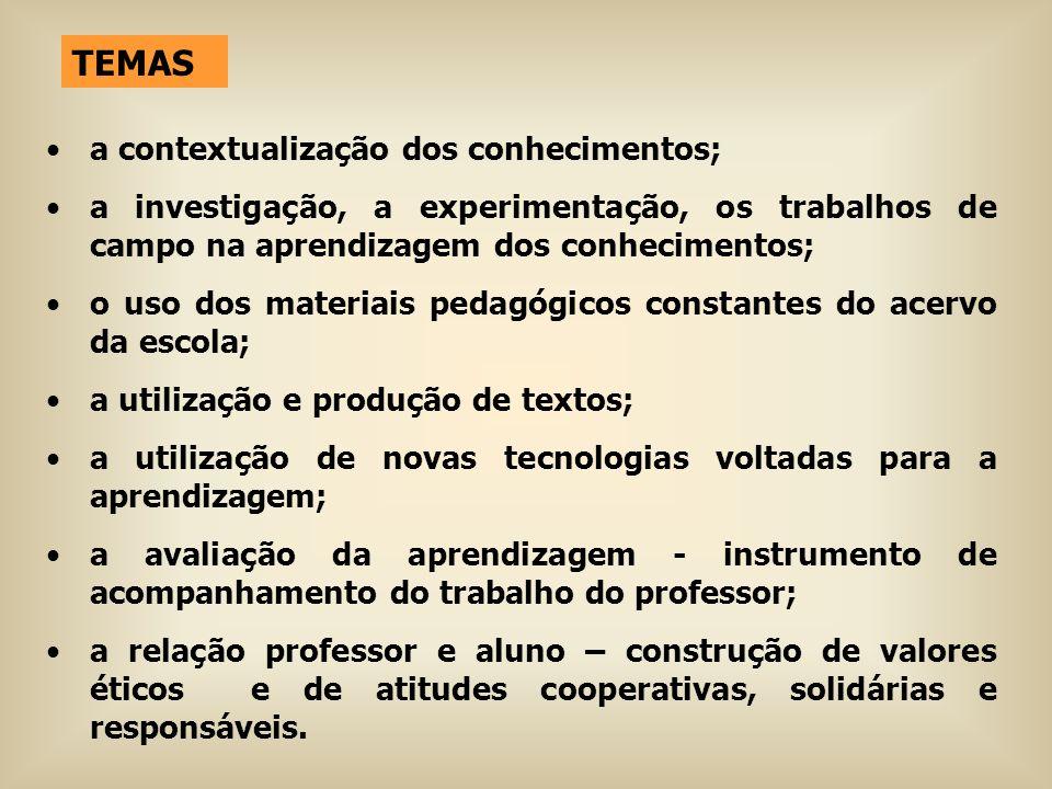 TEMAS a contextualização dos conhecimentos; a investigação, a experimentação, os trabalhos de campo na aprendizagem dos conhecimentos; o uso dos mater