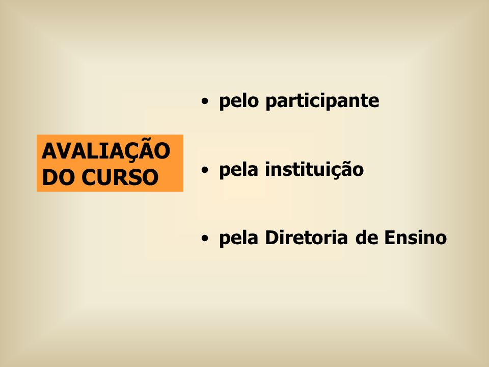 pelo participante pela instituição pela Diretoria de Ensino AVALIAÇÃO DO CURSO