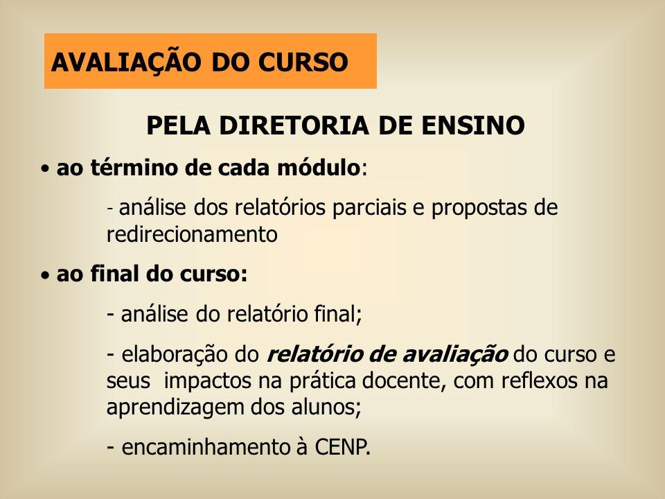 PELA DIRETORIA DE ENSINO ao término de cada módulo: - análise dos relatórios parciais e propostas de redirecionamento ao final do curso: - análise do