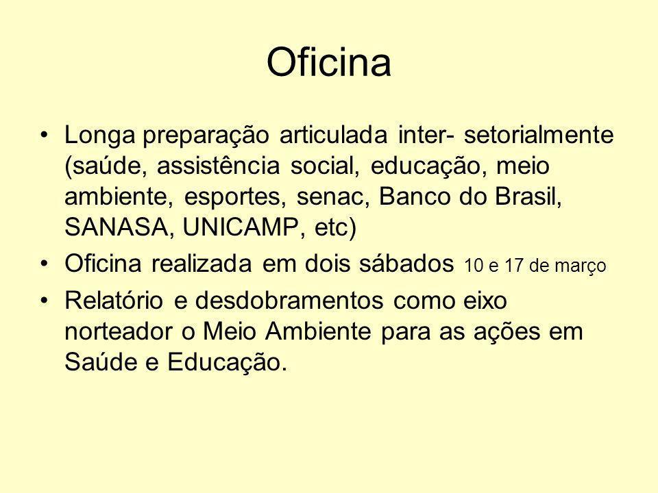 Oficina Longa preparação articulada inter- setorialmente (saúde, assistência social, educação, meio ambiente, esportes, senac, Banco do Brasil, SANASA