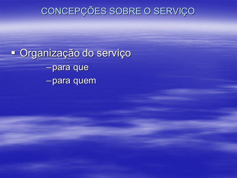 CONCEPÇÕES SOBRE O SERVIÇO Organização do serviço Organização do serviço –para que –para quem