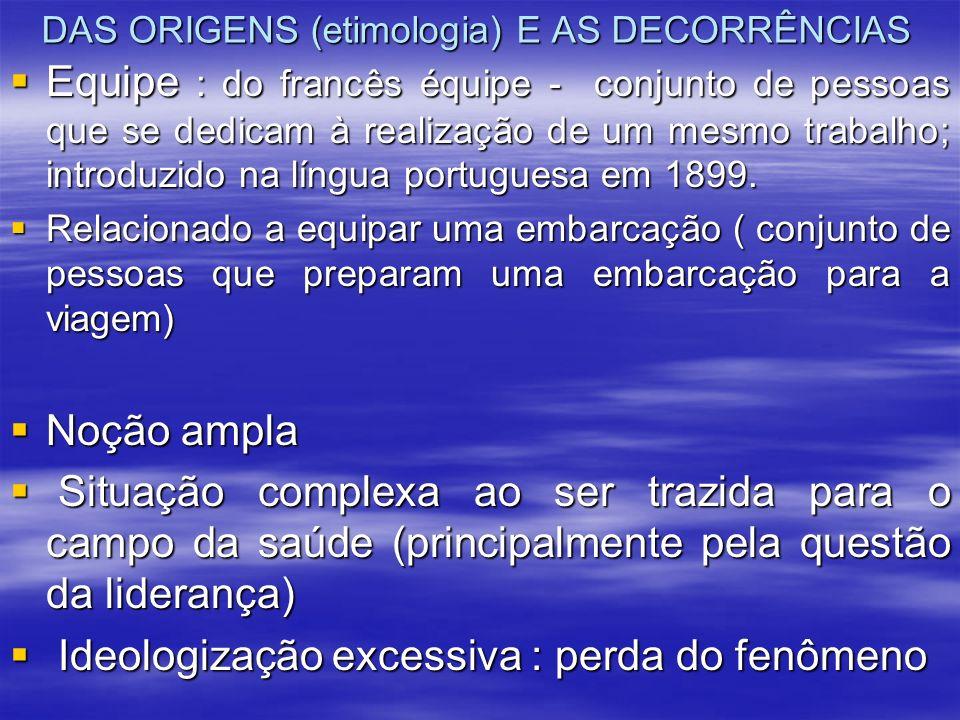 DAS ORIGENS (etimologia) E AS DECORRÊNCIAS Equipe : do francês équipe - conjunto de pessoas que se dedicam à realização de um mesmo trabalho; introduz