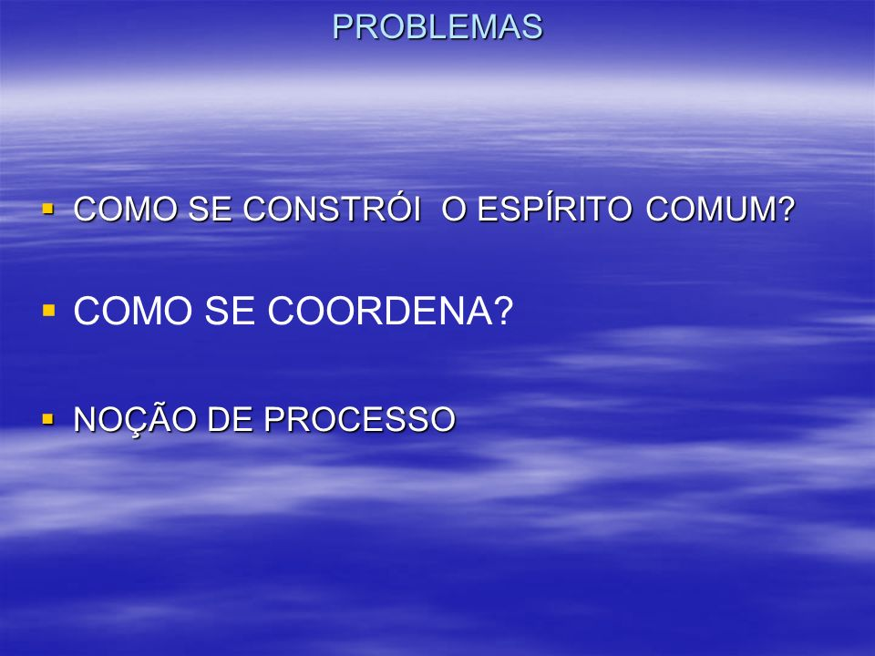 PROBLEMAS COMO SE CONSTRÓI O ESPÍRITO COMUM? COMO SE CONSTRÓI O ESPÍRITO COMUM? COMO SE COORDENA? NOÇÃO DE PROCESSO NOÇÃO DE PROCESSO