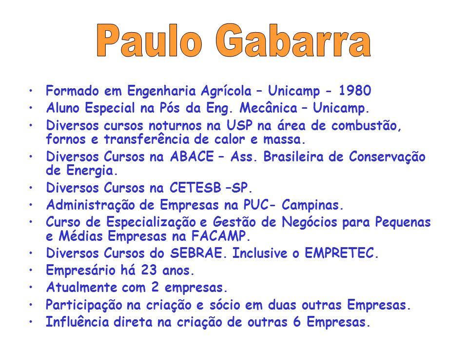 Formado em Engenharia Agrícola – Unicamp - 1980 Aluno Especial na Pós da Eng.