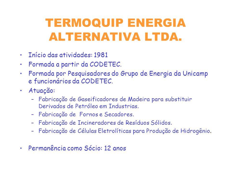 TERMOQUIP ENERGIA ALTERNATIVA LTDA.Início das atividades: 1981 Formada a partir da CODETEC.