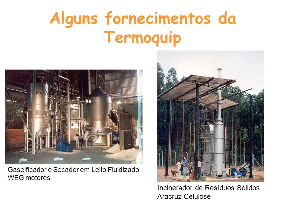 Alguns fornecimentos da Termoquip Gaseificador e Secador em Leito Fluidizado WEG motores Incinerador de Resíduos Sólidos Aracruz Celulose