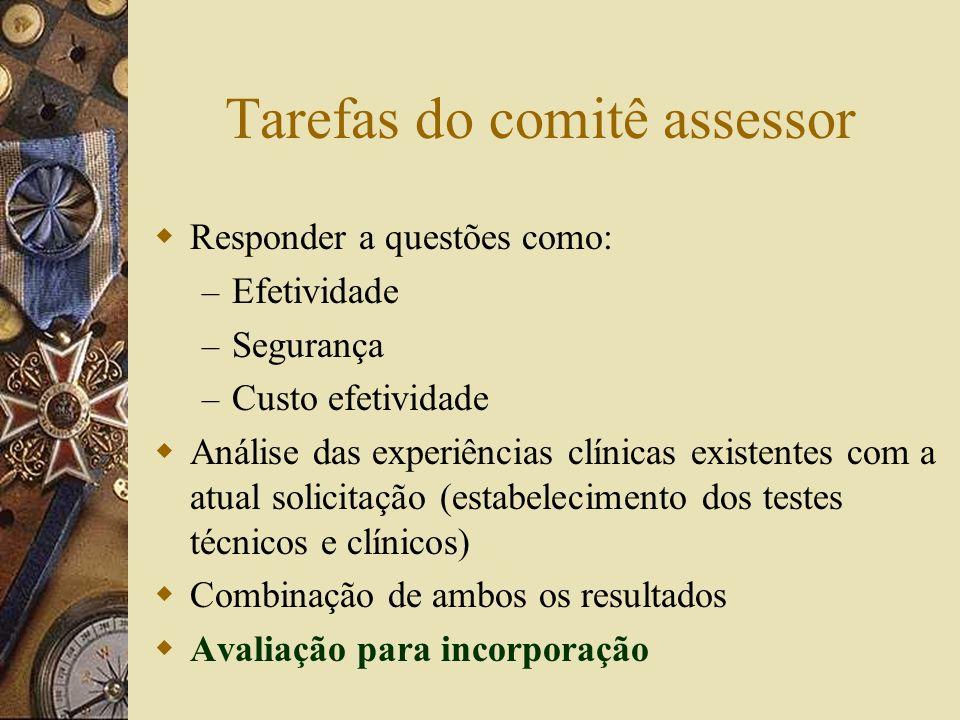 Tarefas do comitê assessor Responder a questões como: – Efetividade – Segurança – Custo efetividade Análise das experiências clínicas existentes com a