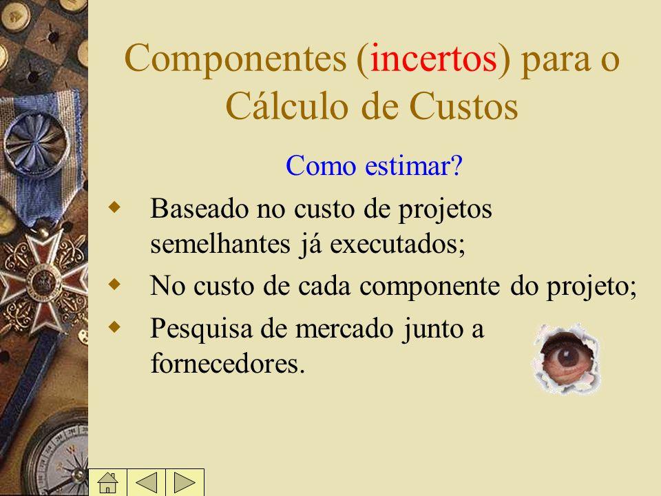 Componentes (incertos) para o Cálculo de Custos Como estimar? Baseado no custo de projetos semelhantes já executados; No custo de cada componente do p