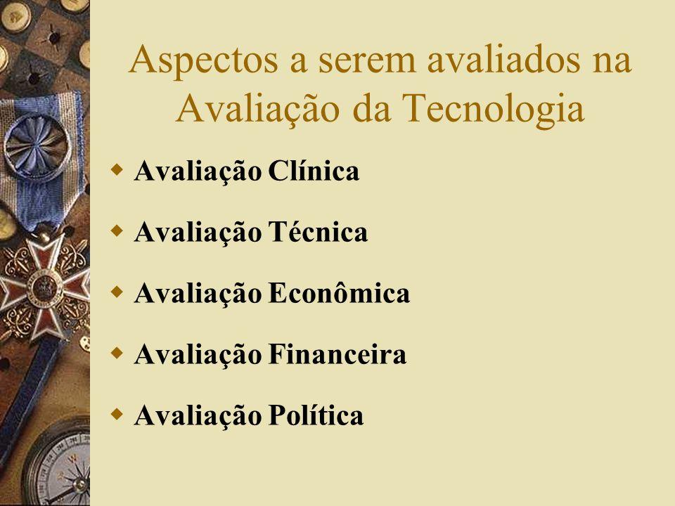 Aspectos a serem avaliados na Avaliação da Tecnologia Avaliação Clínica Avaliação Técnica Avaliação Econômica Avaliação Financeira Avaliação Política
