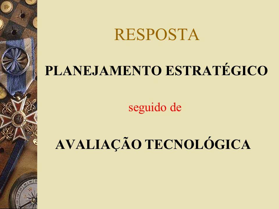 RESPOSTA PLANEJAMENTO ESTRATÉGICO seguido de AVALIAÇÃO TECNOLÓGICA