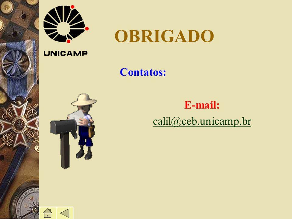 OBRIGADO Contatos: E-mail: calil@ceb.unicamp.br