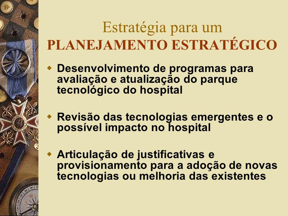 Estratégia para um PLANEJAMENTO ESTRATÉGICO Desenvolvimento de programas para avaliação e atualização do parque tecnológico do hospital Revisão das te