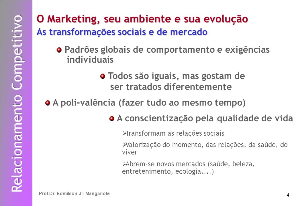 4 Prof.Dr. Edmilson JT Manganote O Marketing, seu ambiente e sua evolução As transformações sociais e de mercado Padrões globais de comportamento e ex