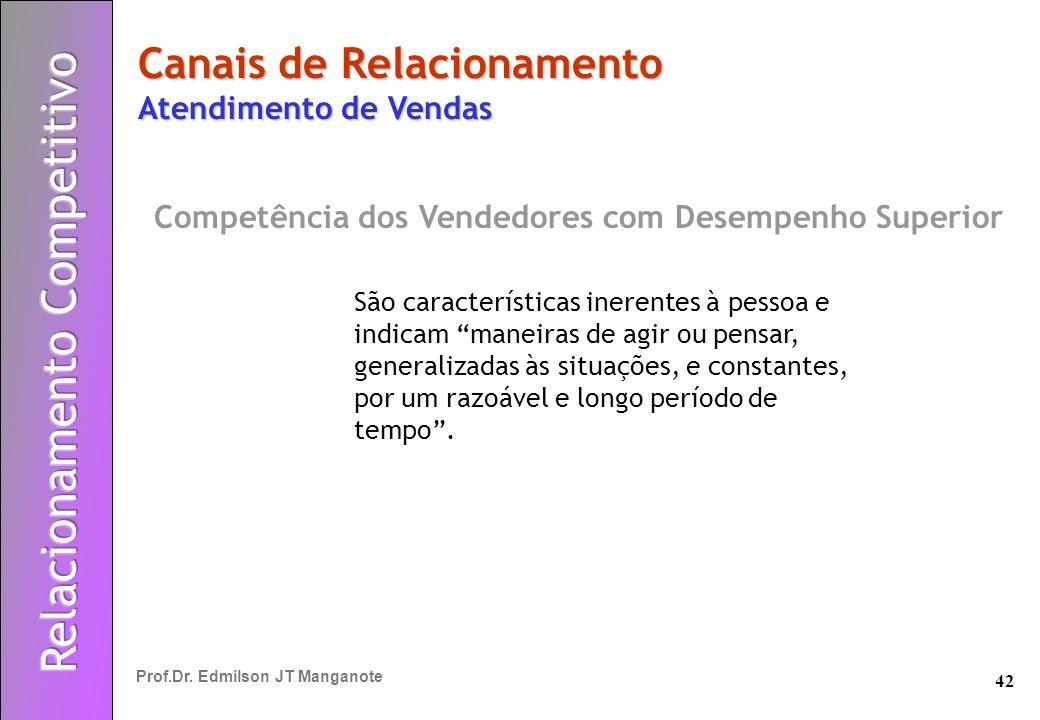 42 Prof.Dr. Edmilson JT Manganote Canais de Relacionamento Atendimento de Vendas Competência dos Vendedores com Desempenho Superior São característica
