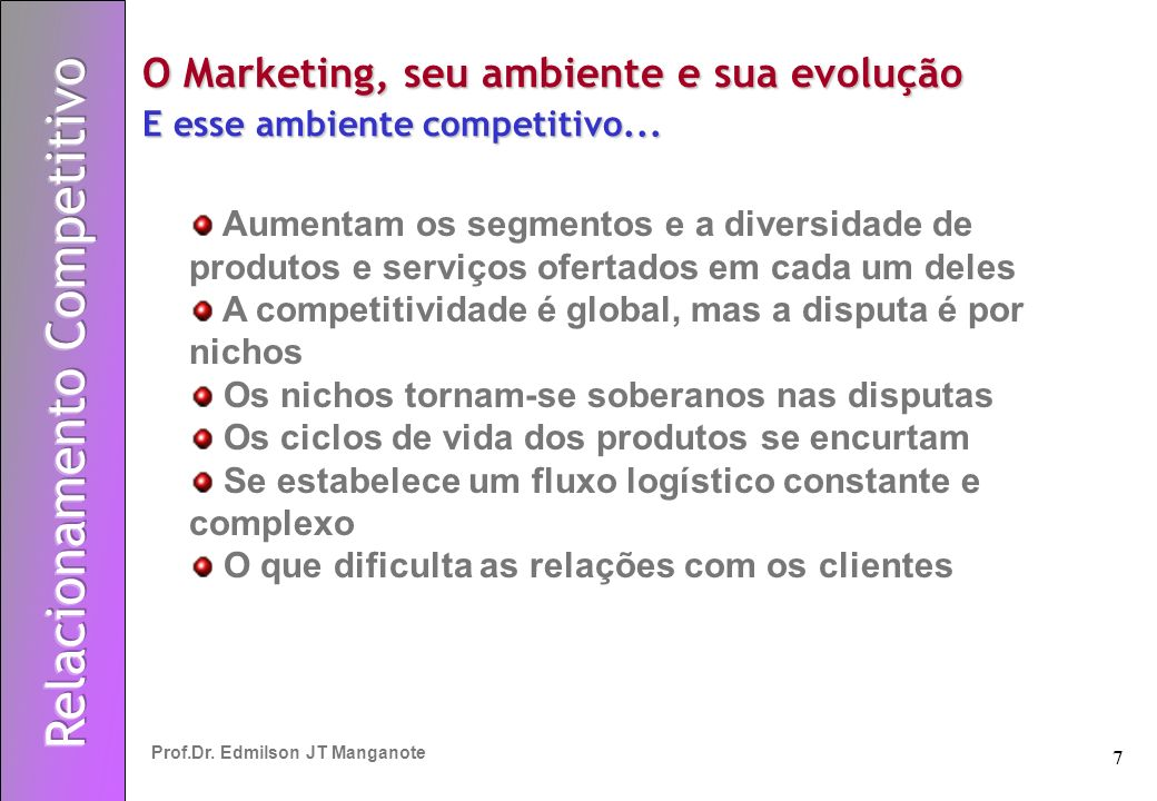 7 Prof.Dr. Edmilson JT Manganote O Marketing, seu ambiente e sua evolução E esse ambiente competitivo... Aumentam os segmentos e a diversidade de prod