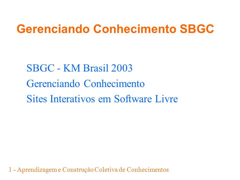 1 - Aprendizagem e Construção Coletiva de Conhecimentos Gerenciando Conhecimento SBGC SBGC - KM Brasil 2003 Gerenciando Conhecimento Sites Interativos