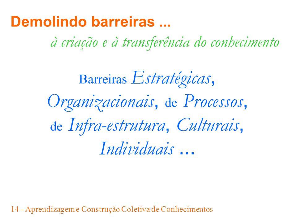 14 - Aprendizagem e Construção Coletiva de Conhecimentos à criação e à transferência do conhecimento Barreiras Estratégicas, Organizacionais, de Proce