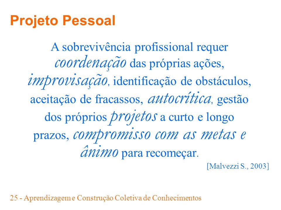 25 - Aprendizagem e Construção Coletiva de Conhecimentos A sobrevivência profissional requer coordenação das próprias ações, improvisação, identificaç