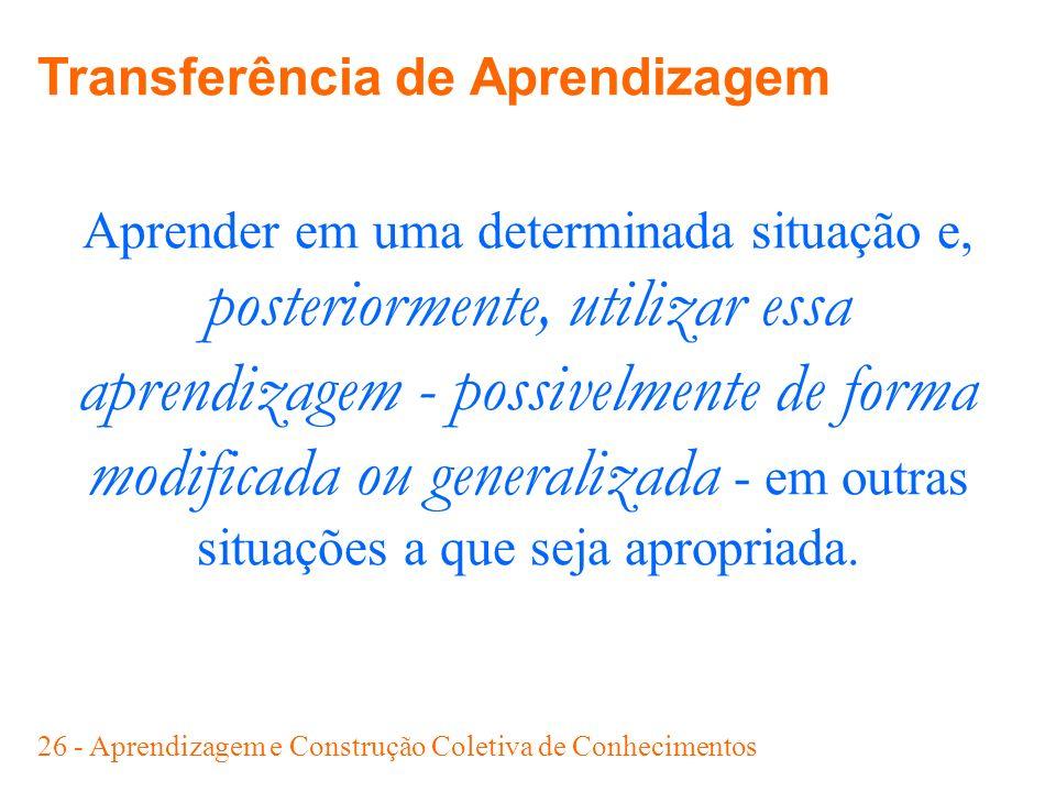 26 - Aprendizagem e Construção Coletiva de Conhecimentos Aprender em uma determinada situação e, posteriormente, utilizar essa aprendizagem - possivel