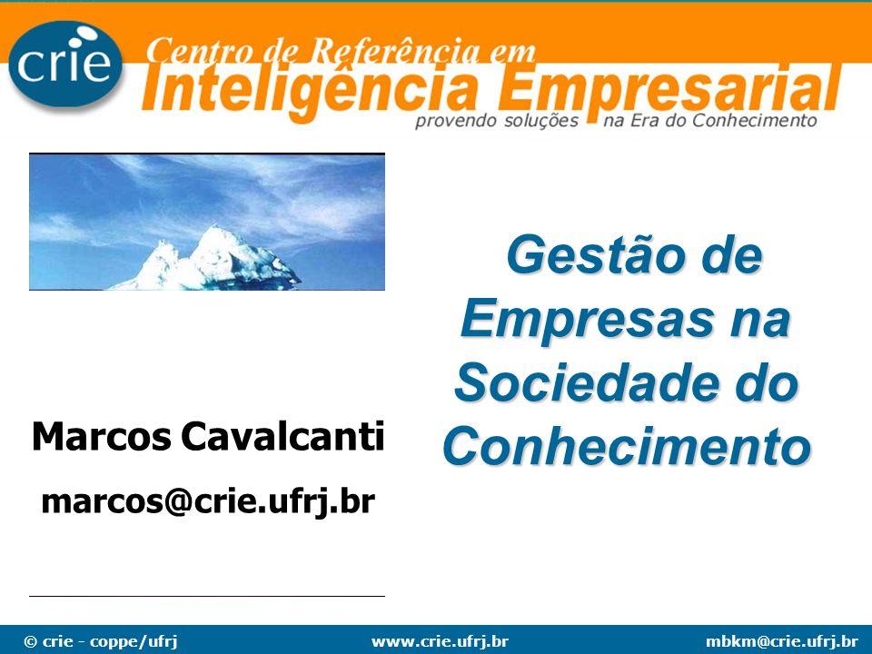 © crie - coppe/ufrjmbkm@crie.ufrj.brwww.crie.ufrj.br Gestão de Empresas na Sociedade do Conhecimento Gestão de Empresas na Sociedade do Conhecimento M