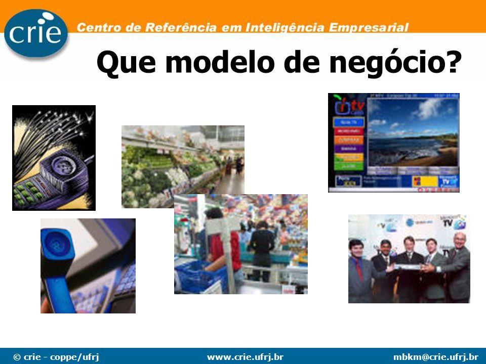 © crie - coppe/ufrjmbkm@crie.ufrj.brwww.crie.ufrj.br Que modelo de negócio?