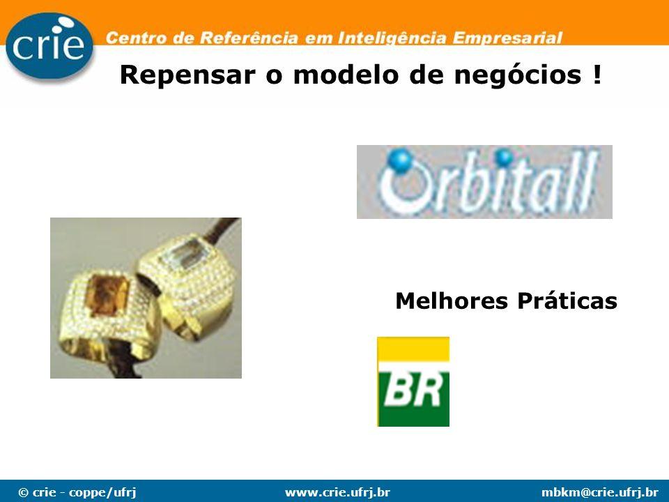 © crie - coppe/ufrjmbkm@crie.ufrj.brwww.crie.ufrj.br Repensar o modelo de negócios ! Melhores Práticas