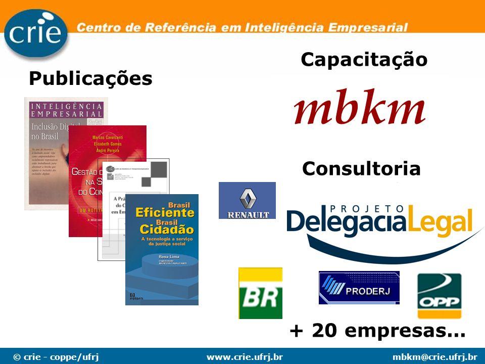 © crie - coppe/ufrjmbkm@crie.ufrj.brwww.crie.ufrj.br Publicações Capacitação Consultoria mbkm + 20 empresas...