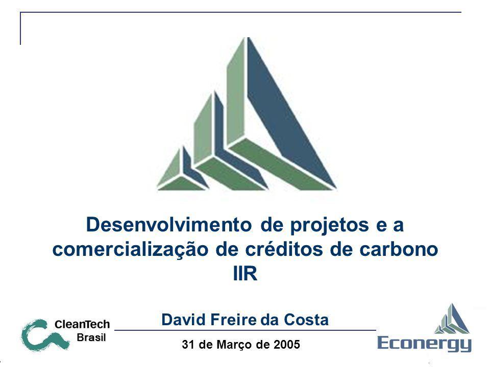 31 de Março de 2005 Brasil Desenvolvimento de projetos e a comercialização de créditos de carbono IIR David Freire da Costa