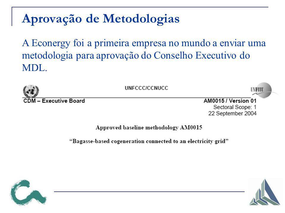 Aprovação de Metodologias A Econergy foi a primeira empresa no mundo a enviar uma metodologia para aprovação do Conselho Executivo do MDL.