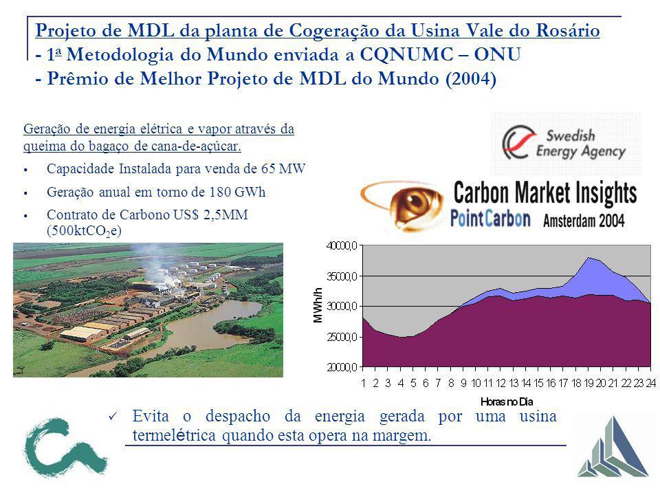 Projeto de MDL da planta de Cogeração da Usina Vale do Rosário - 1 a Metodologia do Mundo enviada a CQNUMC – ONU - Prêmio de Melhor Projeto de MDL do Mundo (2004) Geração de energia elétrica e vapor através da queima do bagaço de cana-de-açúcar.