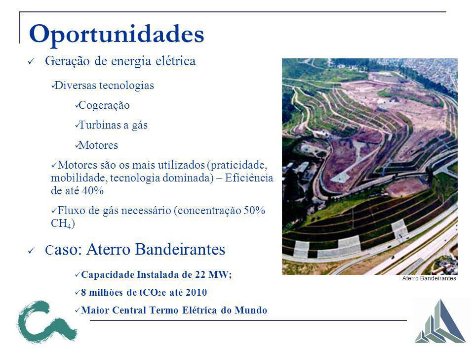 Oportunidades Geração de energia elétrica Diversas tecnologias Cogeração Turbinas a gás Motores Motores são os mais utilizados (praticidade, mobilidade, tecnologia dominada) – Eficiência de até 40% Fluxo de gás necessário (concentração 50% CH 4 ) C aso: Aterro Bandeirantes Capacidade Instalada de 22 MW; 8 milhões de tCO 2 e até 2010 Maior Central Termo Elétrica do Mundo Aterro Bandeirantes